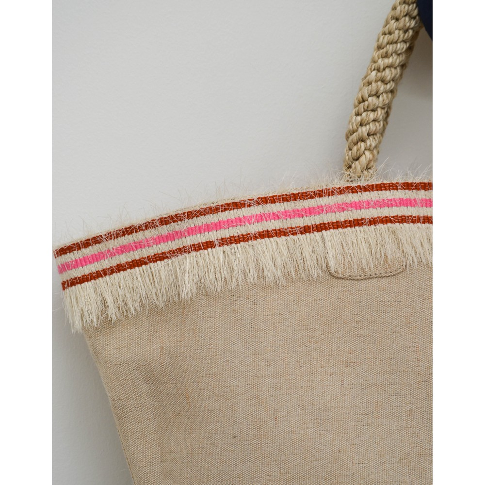 Rae Feather  Straw Fringe Shopper Basket Pink/Red