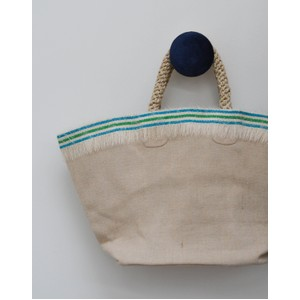 Straw Fringe Shopper Basket Blue/Mint