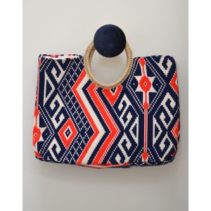 Round Handle Jacqard Bag Navy/Orange