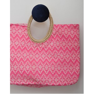 Rae Feather  Round Handle Jacqard Bag Pink