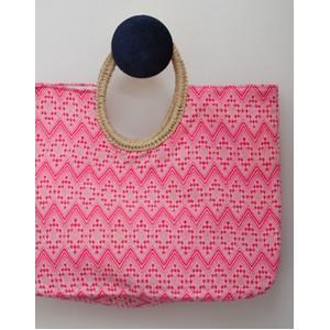 Round Handle Jacqard Bag Pink