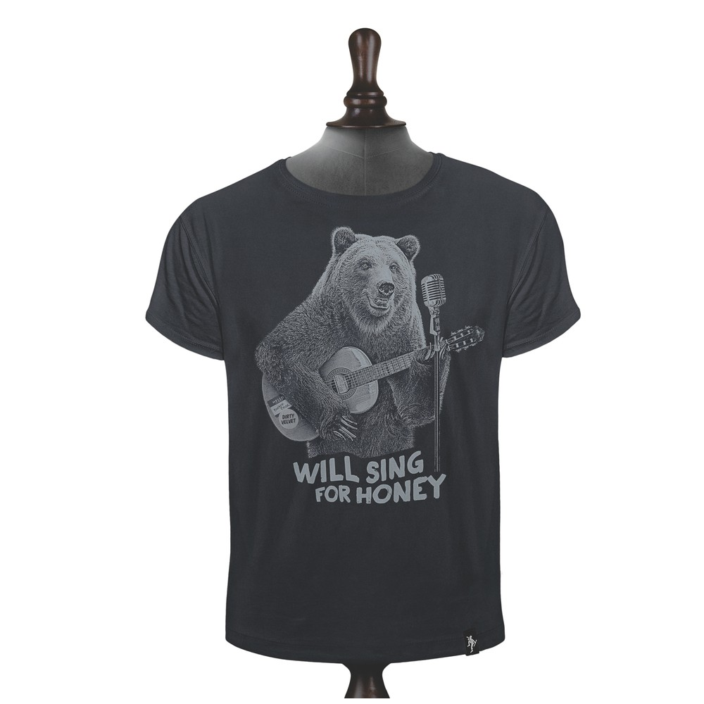 Dirty Velvet Busker Bear T Shirt Charcoal