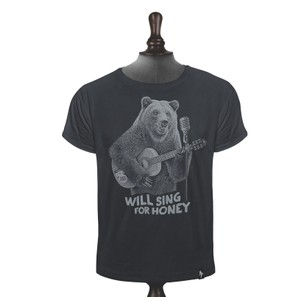 Busker Bear T Shirt Charcoal