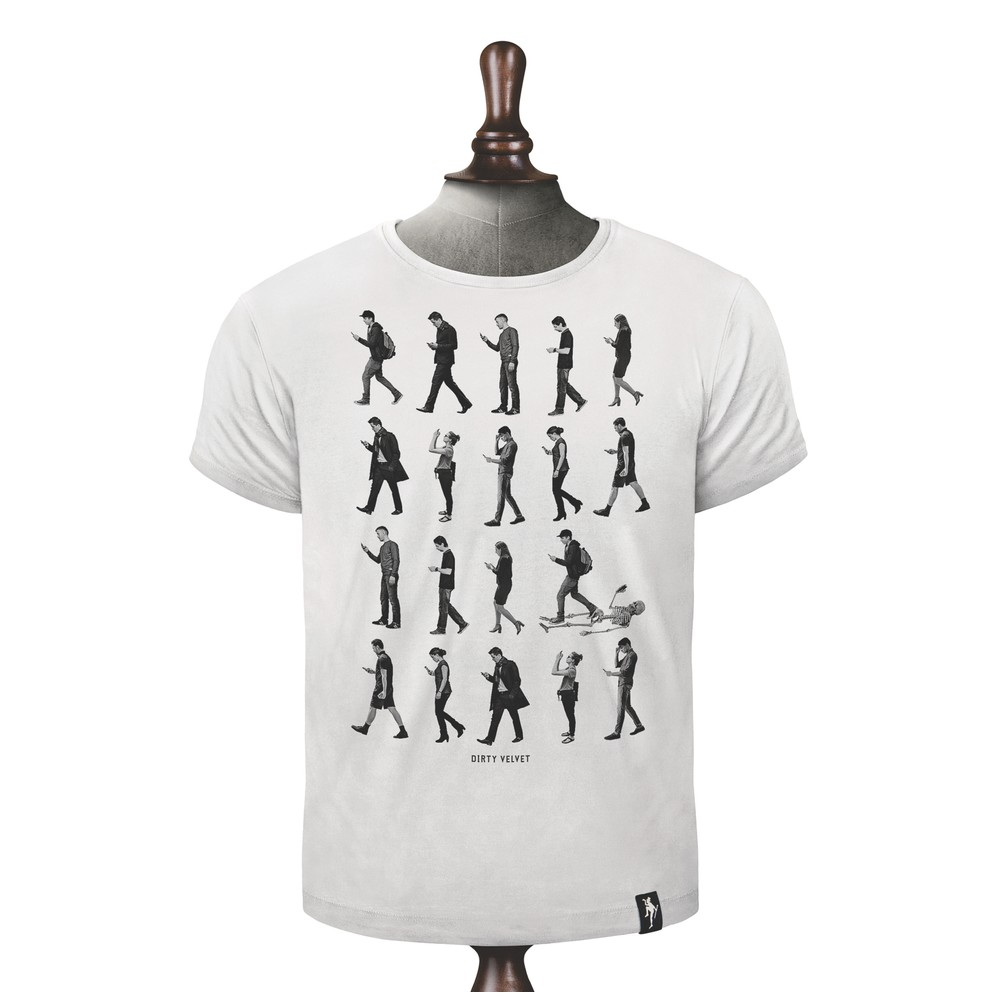 Dirty Velvet Phone Zombies T Shirt White