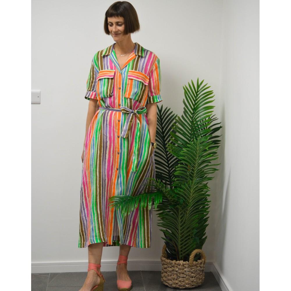 120% Lino S/S Striped Shirt Dress Multicolour