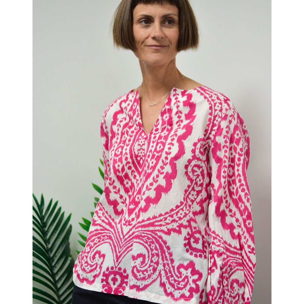 Rae Feather  Ikat Print Top Pink/White