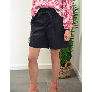 Poplin Stretch Shorts W/Belt Dark Navy