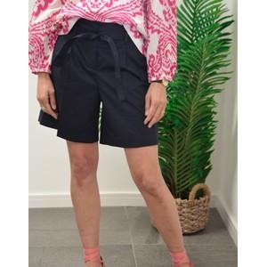 Paul Smith Womens Poplin Stretch Shorts W/Belt Dark Navy