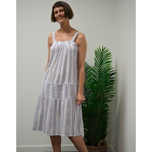 Stripe Cheesecloth Strap Dress Blue/White