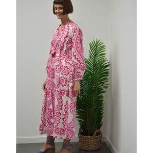 Ikat Print Dress Pink/White