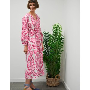 Rae Feather  Ikat Print Dress Pink/White
