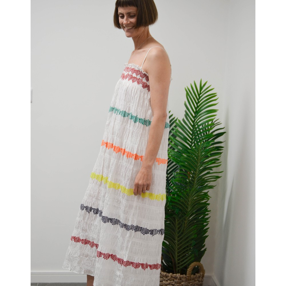 Rae Feather  Embroidered Bandeau Dress Red/Green/Yellow