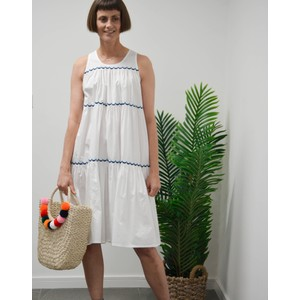 Emb Cotton Tier Dress Naval Blue