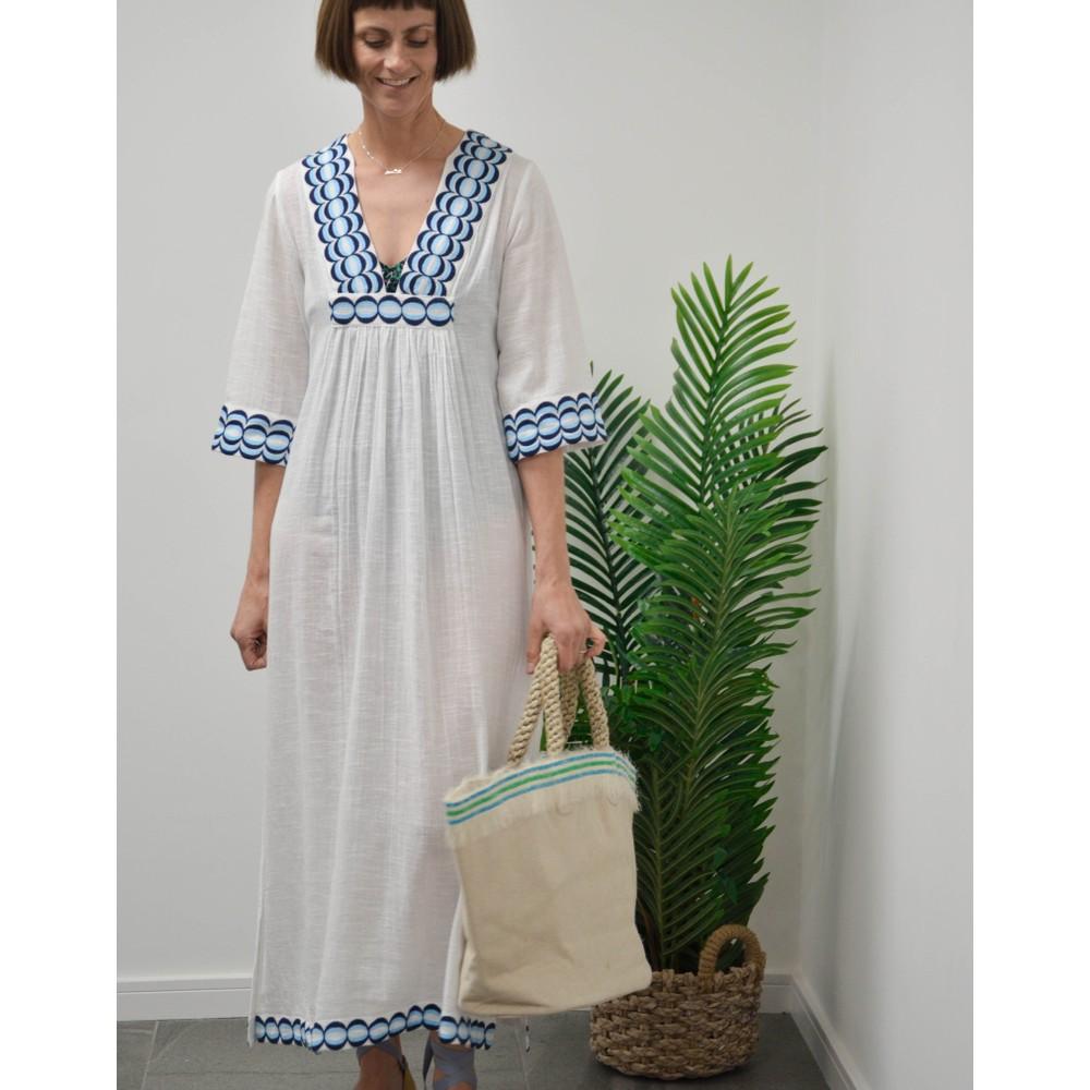 Rae Feather  Embroidery Anya Kaftan Dress Navy Blue