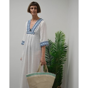 Rae Feather  Embroidery Anya Kaftan Dress Navy Blue