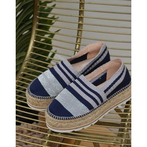 Jazmin Stripe Rib Knit Shoe Navy/Grey/Silver