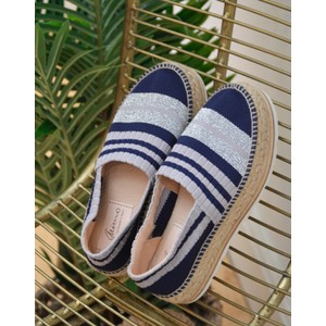Gaimo Jazmin Stripe Rib Knit Shoe Navy/Grey/Silver
