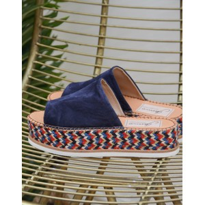Juana Suede Platform Navy/Red/White/Gold