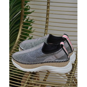 Pos Lurex Trainer Silver/Black/Pink