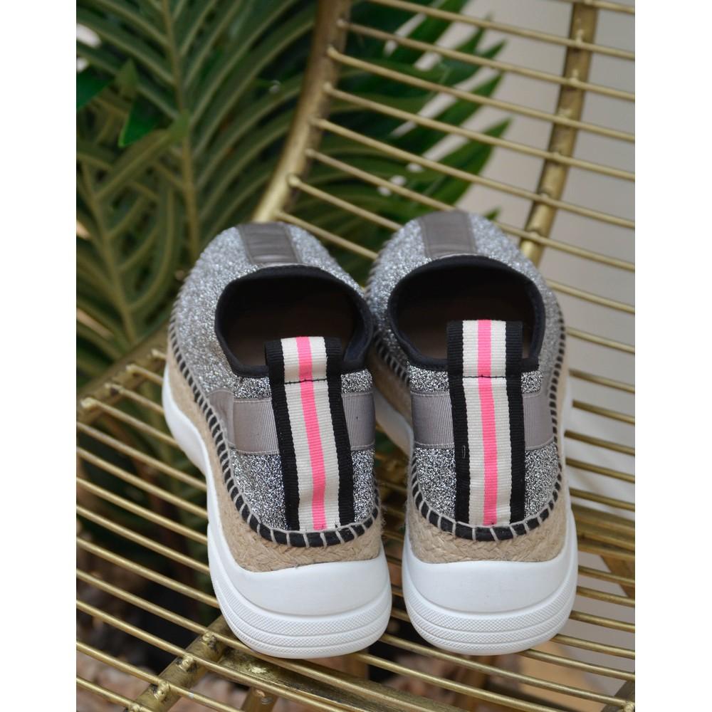 Gaimo Pos Lurex Trainer Silver/Black/Pink