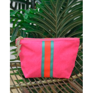 Stripe Make Up Bag Pink