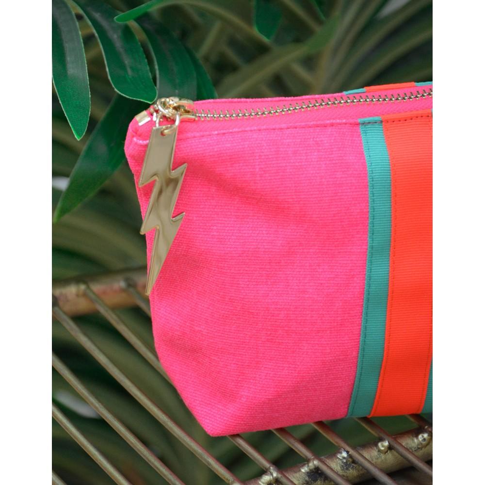 Cockatoo Stripe Make Up Bag Pink