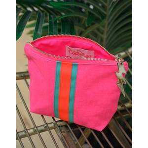 Cockatoo Stripe Make Up Bag Pink