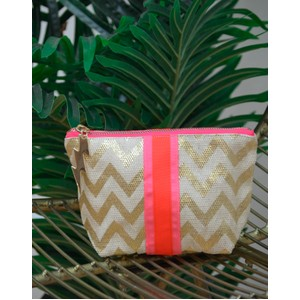 Cockatoo Zig Zag Make Up Bag Gold