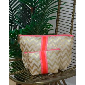 Cockatoo Zig Zag Make Up Bag Gold