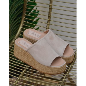 Seneka Suede Wedge-Open Toe Natural