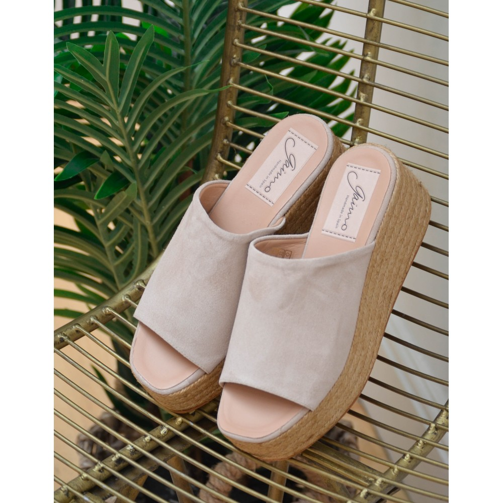 Gaimo Seneka Suede Wedge-Open Toe Natural