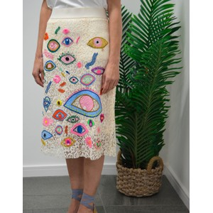 Essentiel Antwerp Snappy Embroided Skirt Off White