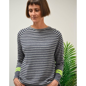 Many Stripe Trumpet Sleeve Knit Mid Grey/Navy/Yellow