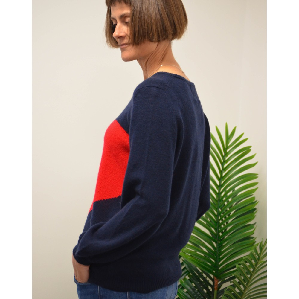 Jumper 1234 Mega Heart Crew Loose Knit Navy/Red