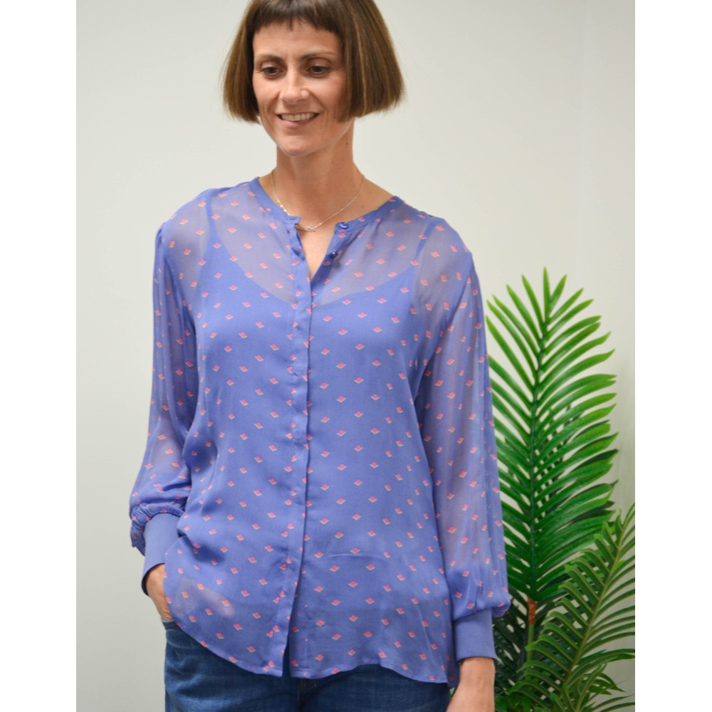 Levete Room Fay Printed Sheer Blouse-Slip Blue Ice/Pink
