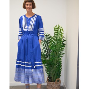Plain Prairie Indigo Long Dress Indigo Applique