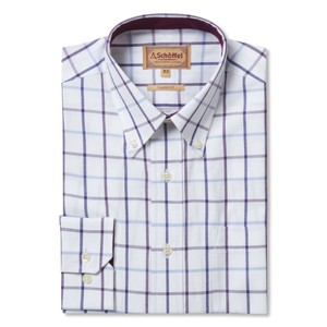 Schoffel Country Brancaster Shirt in Purple Check Wide