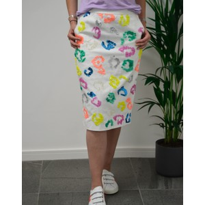 Tiswow Sequin Pattern Skirt Off White/Multi