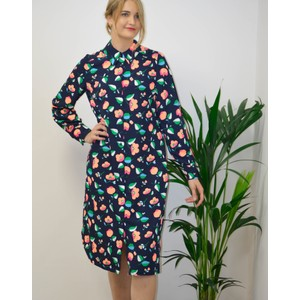Tong Floral Midi Shirt Dress Navy/Apricot/Green