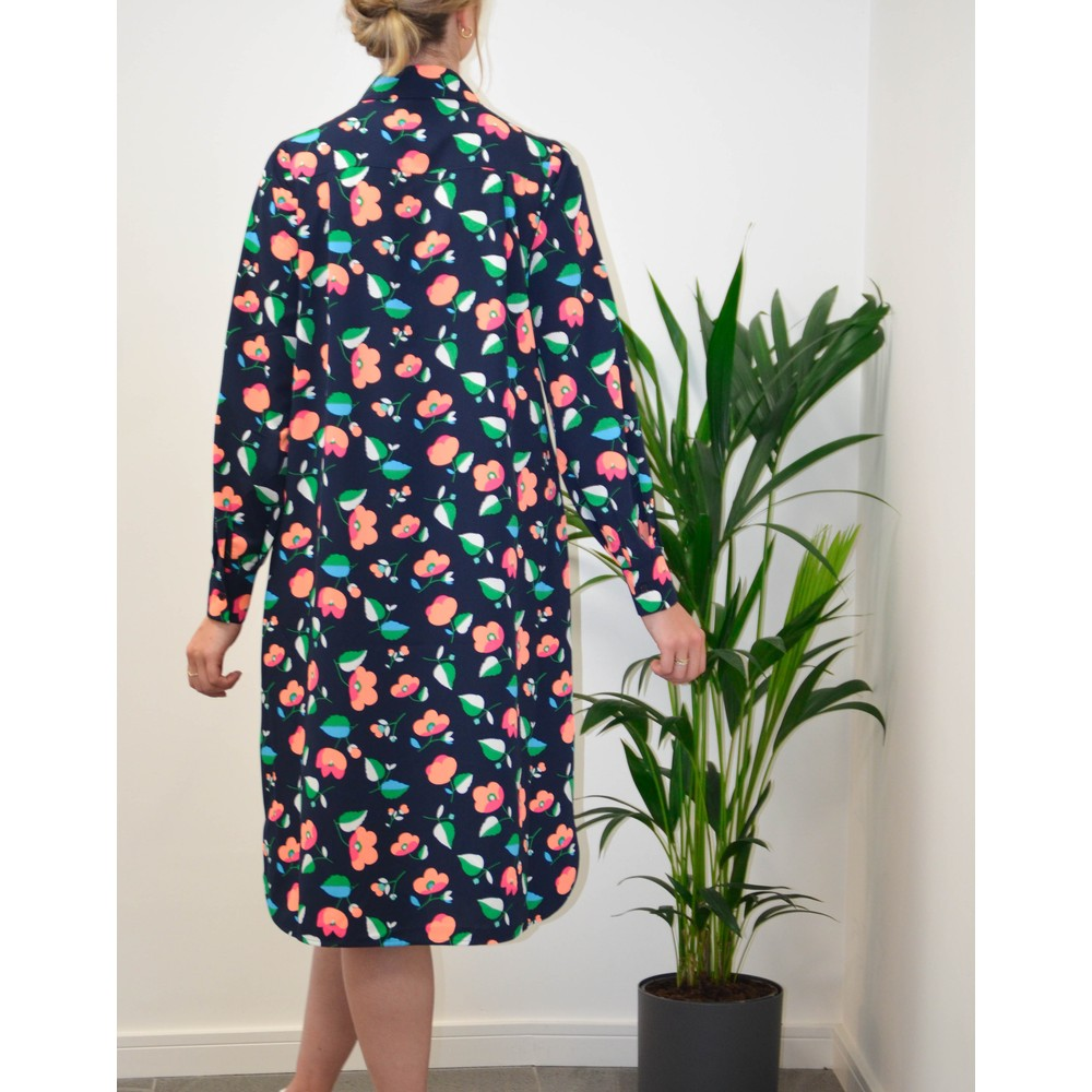Essentiel Antwerp Tong Floral Midi Shirt Dress Navy/Apricot/Green