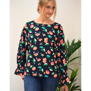 Tiesto Floral Blouse Navy/Apricot/Green