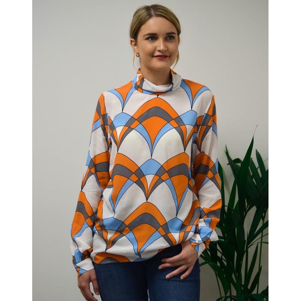Essentiel Antwerp Ties Geo High Neck Blouse White/Blue/Orange