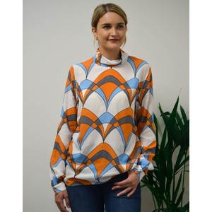 Ties Geo High Neck Blouse White/Blue/Orange