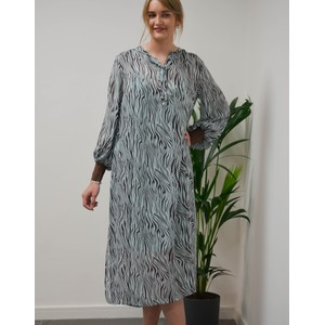 Levete Room Felicity Zebra Dress With Slip Mint Combi