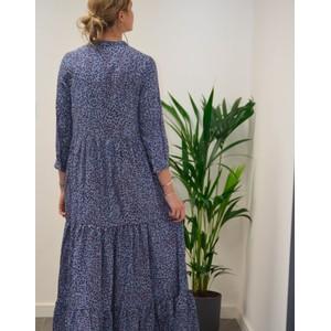 Lollys Laundry Nee Leaf Print Dress Blue/Burgundy