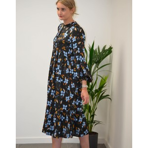 Dull Floral Silky Dress Black/Multi