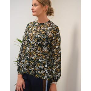 Dolores Floral Sheer Blouse Black/Green