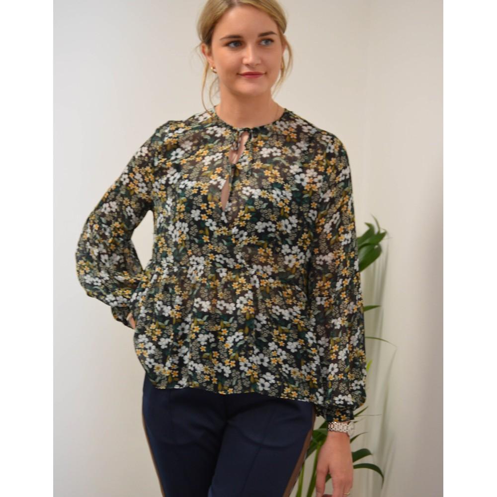 Munthe Dolores Floral Sheer Blouse Black/Green