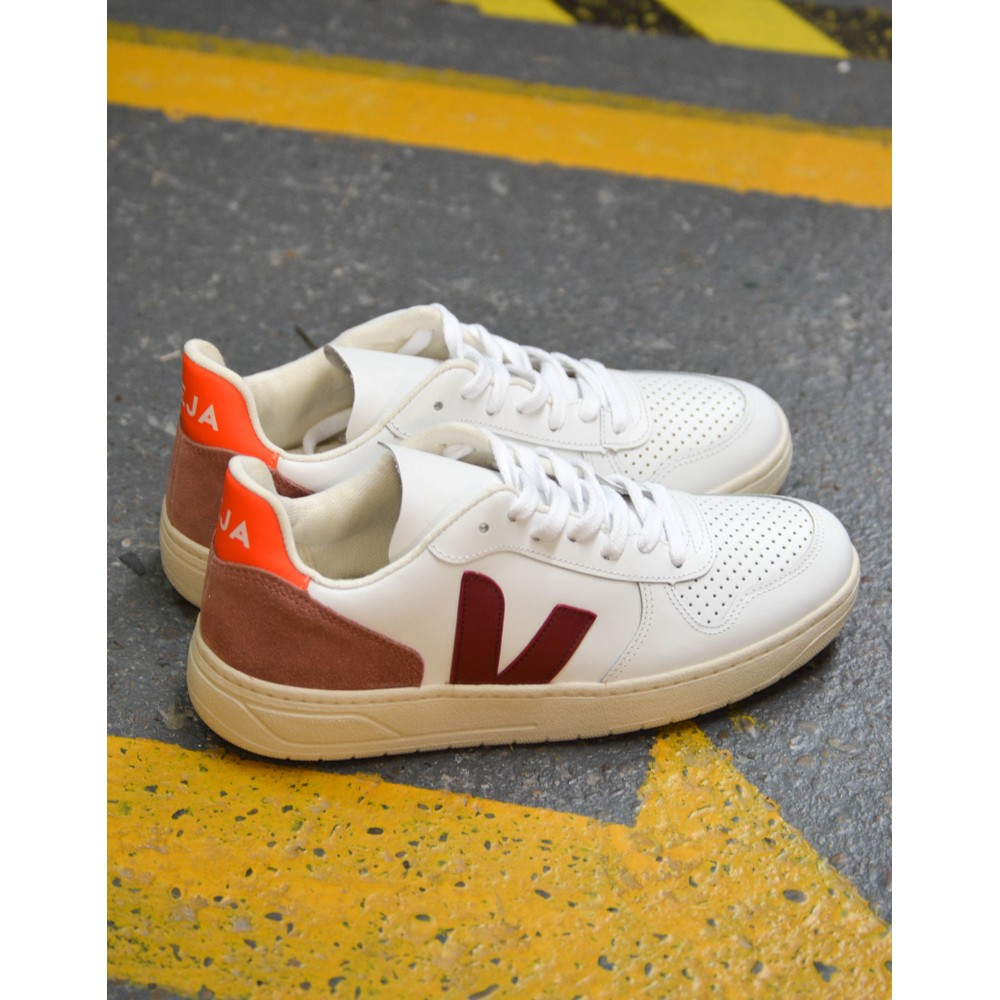 Veja V-10 Leather Trainer White/Marsala/D.Petal/Orange