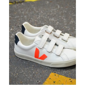 3 Lock Logo Leather Trainer Extra White/Orange/Nautico